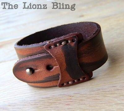Distressed Leather Wrap Bracelet (Urban Retro Distressed Cafe Brown Tapered Genuine Leather Wrap Bracelet )