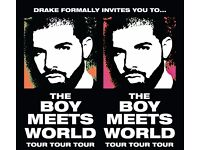 2 Tickets Drake Saturday 4th February BLOCK 107 Row H Excellent Seats