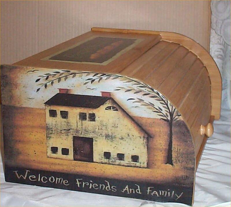 Primitive Bread Box Bamboo Wood Country Farm Kitchen Roll Top Lodge Decor