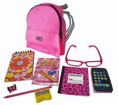 "NEW! 9 PC Pink Backpack & School Supplies Set for 18"" American Girl Dolls"