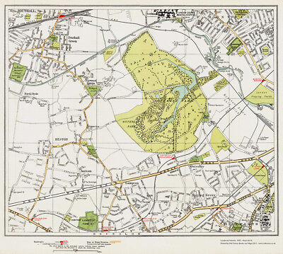 Southall Green Osterley area Map London 1932 #69-70