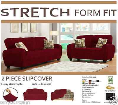 - STRETCH FORM FIT - 2 Pc Slipcovers Set , Sofa + Loveseat Covers - BURGUNDY COLOR
