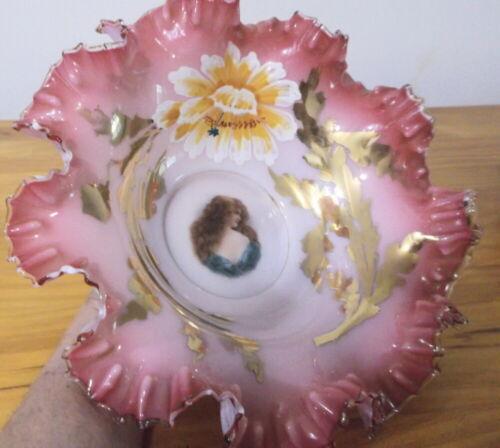 Decorative Bridal Bowl in Fenton Pink & Silver Crest w/Victorian Decor