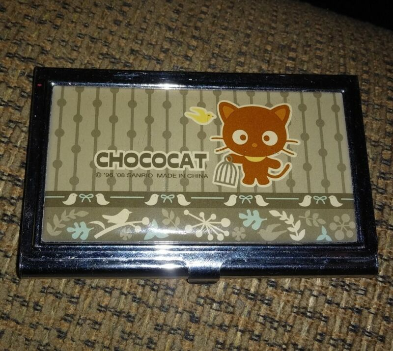 CHOCOCAT SANRIO METAL BUSINESS CARD HOLDER MIRROR FROM 2008 RARE