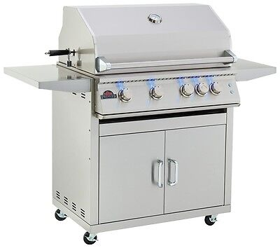 4 Burner Premier Stainless Steel Outdoor Freestanding Barbecue Bbq Grill Cart