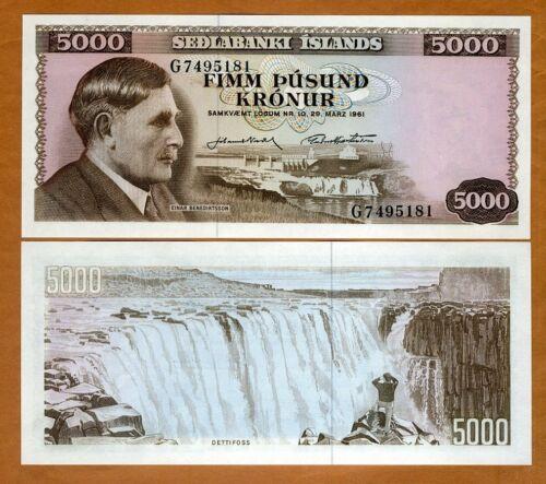 Iceland, 5000 Kronur, L. 1961, P-47, UNC
