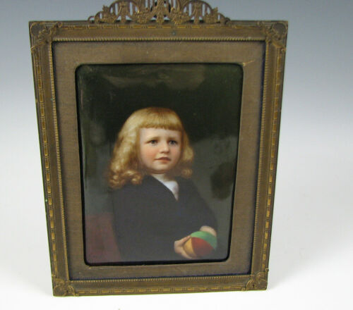 Antique Hand Painted Porcelain Plaque Young Girl w/Ball Knoeller Dresden