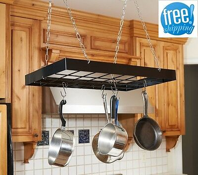 Pots And Pans Hanging Rack With Hooks Chains Skillet Hanger Storage Organizer