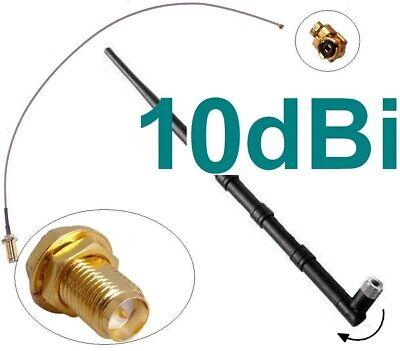 10dBi Antenne + Adapter Kabel RP-SMA u-FL Wlan WiFi Speedport Fritz!Box Pigtail 10-dbi-antenne