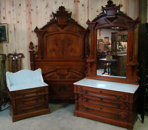 GREAT 3 PIECE 1870'S VICTORIAN WALNUT MARBLE TOP BEDROOM SET