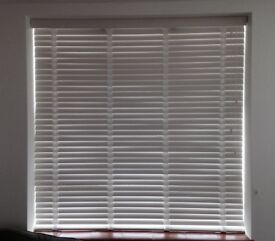 Unused White Wooden Window Blinds