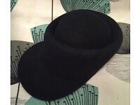 Black Shaped Wool Hat with Peak