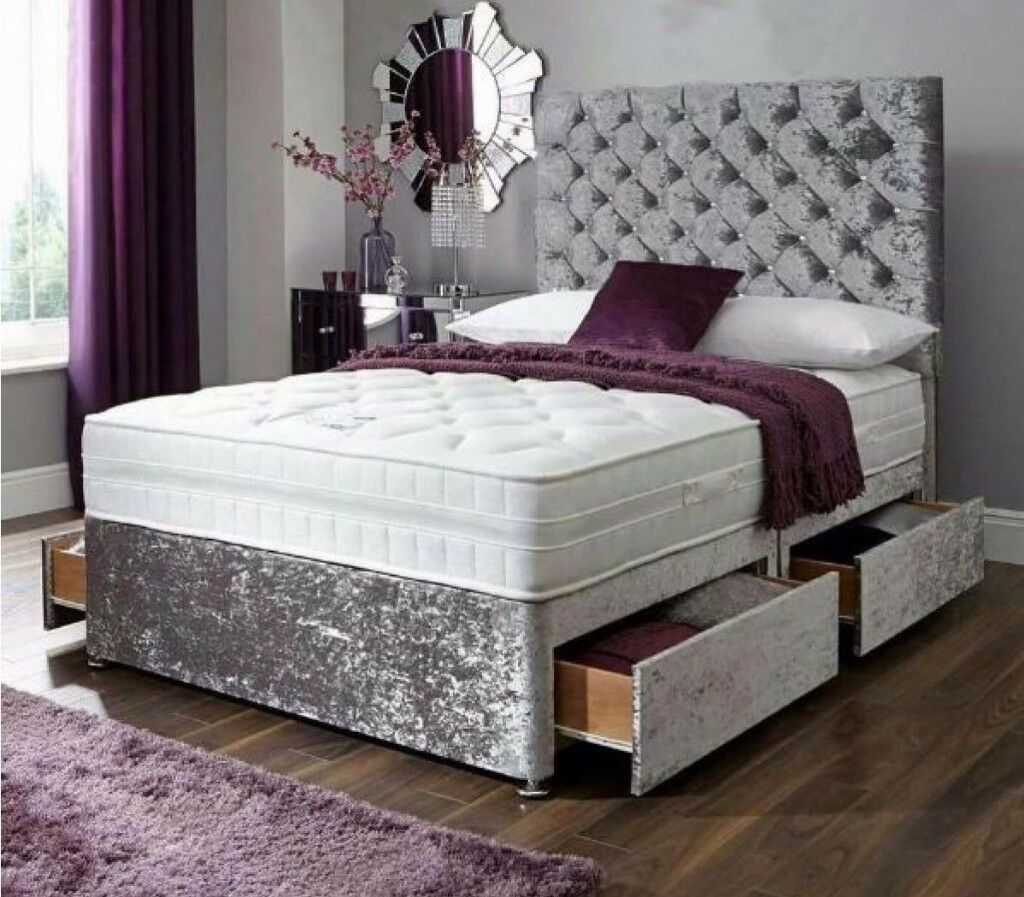 """CLASSIC Single, Double, Small Double Or King Crushed Velvet Divan Bed 9"""" DEEP QUILTED Mattress"""