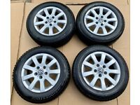 Full Set of VW Golf Mk5 16in Alloy Wheels With 4 Very Good Firestone Winter Tyres Included