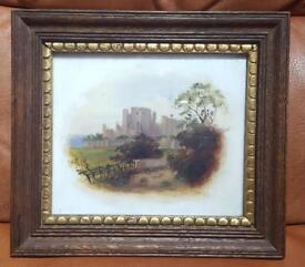 Small framed antique/vintage oil painting of a castle & landscape ceramic