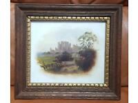 Small framed antique/vintage oil painting of a castle & landscape ceramic