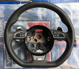*** AUDI S3 8V DSG FLAT BOTTOM STEERING WHEEL *** A3 FLAPPY PADDLE LEATHER RARE