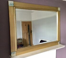 LARGE GOLD FRAMED OVERMANTLE MIRROR, BEVELLED, WALL MIRROR,