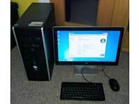 HP Desktop PC, Windows 7, 60Gb SSD, 250Gb Hdd, 4Gb RAM, monitor, keyboard / mouse