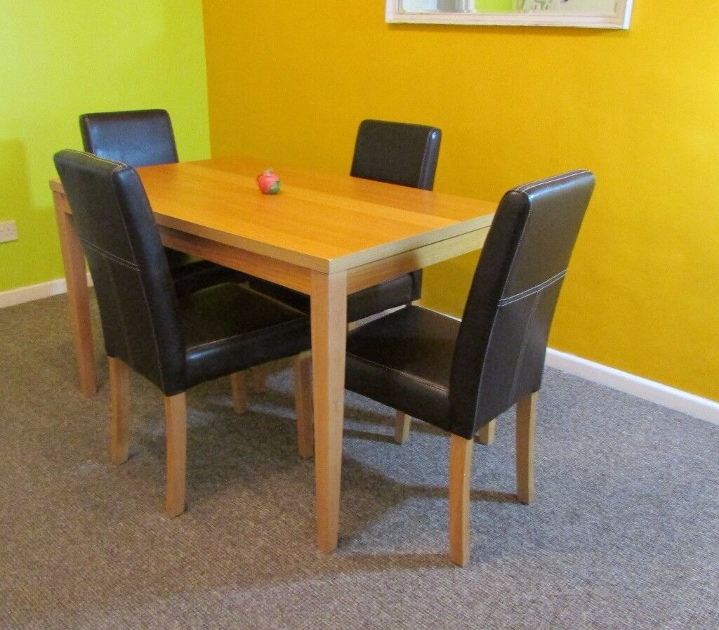 Dining table and 4 dining chairs faux leather wooden table kitchen table FREE DELIVERY