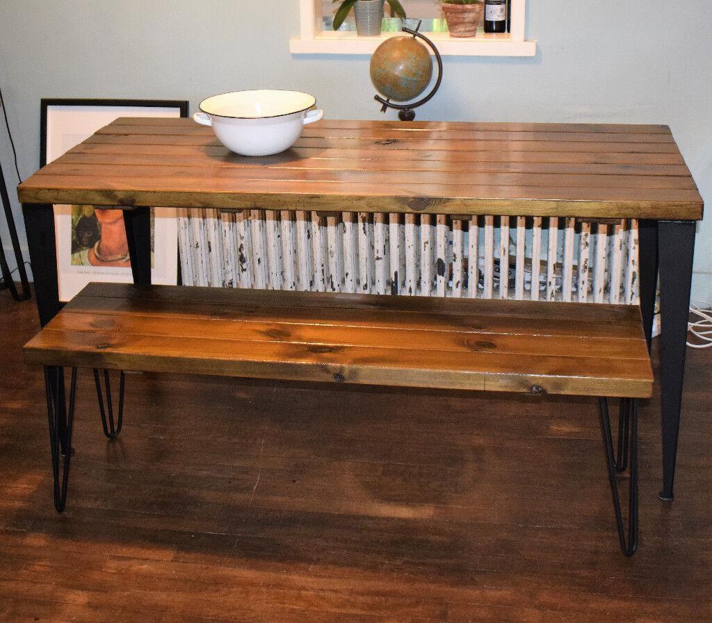 140cm x 70cm industrial kitchen table x bench mid century modern