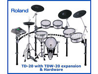 ROLAND TD-20 exp TDW-20 module & 5x Vex packs electronic V-Drums kit hardware