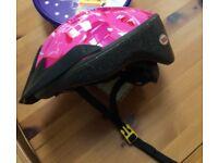girls cycle helmet pink and black 50-55cm