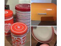 Orange themed Storage tins, bread bin, plates
