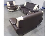 EX DISPLAY 3 piece Brown/Cream leather sofa set