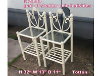 ornate cream metal pair of bedsides shabby chic style