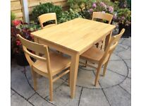Solid Beech Wood Dining Set, Excellent.