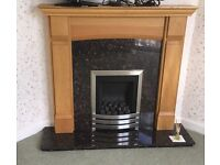 Wooden mantle piece and marble surrond fire place complete with coal effect gas fire