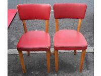 Vintage retro 50s 60s american diner rockabilly style shabby chic red kitchen dining chairs x 4