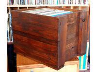 "Upcycled Repurposed 12"" LP Record Vinyl Wooden Steampunk Vintage Storage Box"