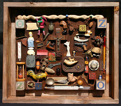 "Drew Strouble Original Assemblage ""Who Threw the Wrench Into the Sands of Time"""