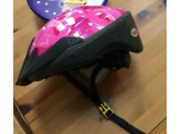 girls cycle helmet pink and black 50-55cm
