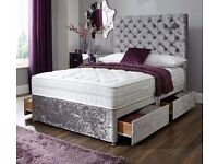 Double crush velvet divan bed with princess high headboard and mattress