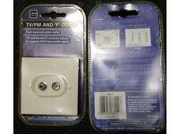 TV / FM VHF F Plug Satellite wall socket flush mounted outlet white Masterplug