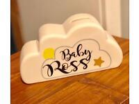Personalised baby cloud money bank