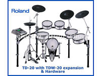 ROLAND TD-20 exp TDW-20 module & 5x Vex packs electronic V-Drums kit hardware bundle