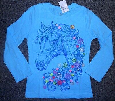 Girls BLUE HORSE/Pony Shirt~L/S~TCP~Glitter HORSE~Hearts~Stars~Snowflakes~NWT~