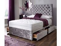Double Divan Crush Velvet Bed with Princess High Headboard and mattress