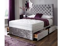 Crushed Velvet Double Divan Bed -- Same Day Free Delivery -- 3 Different Colors