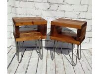 RUSTIC BEDSIDE TABLES/SIDE TABLES WITH HAIRPIN LEGS - pair £115