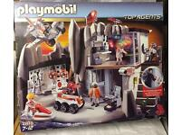 Playmobil 4875 massive boxed base toy set 5 mini figures vehicles light n sound top agents HQ lego