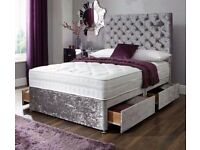CRUSHED VELVET DIVAN BED WITH PRINCESS HEADBOARD 24 inch and MATTRESS