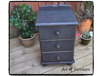 Pine Bedside Table hand painted in Annie Sloan Graphite chalk paint.