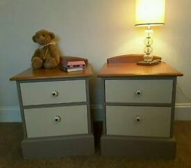 Pair bedside tables painted Annie Sloan