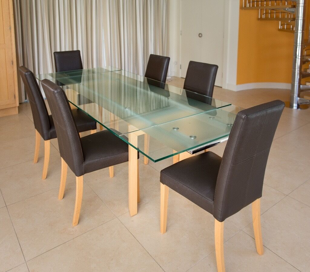 Glass And Beech Extending Dining Table 6 Chairs By John Lewis