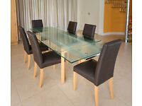 Glass and Beech Extending Dining Table and 6 chairs by John Lewis